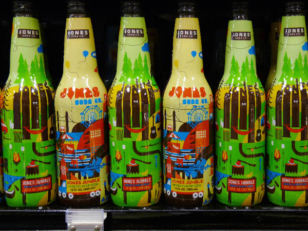 loudly colourful (red/green/yellow/blue) soda bottles