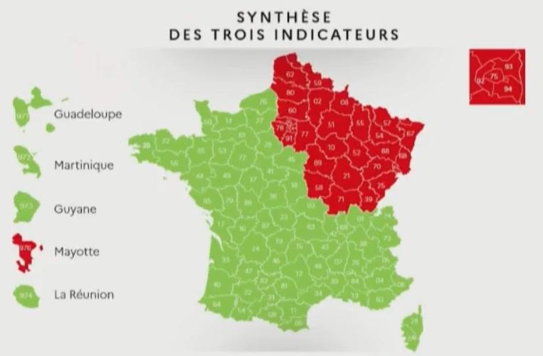 Карта выхода из карантина во Франции