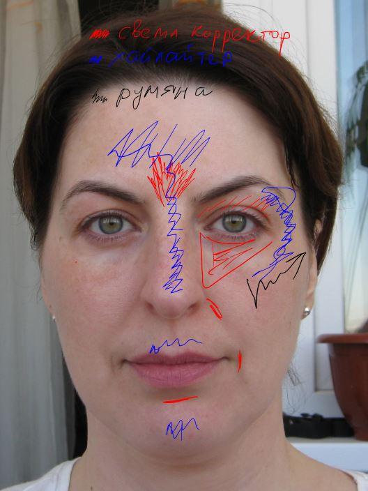 Современный макияж нормальнозанятой женщины не использует области затенения, ибо с ними больше возни. Свет на двух уровнях и цвет.