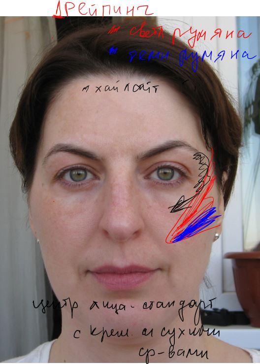Светокоррекция с помощью дрейпинга. ДВа вида румян для структурирования, Для верхнего света неизменный хайлайтинг. Центр лица как обычно и как хочется  в две или в одну фазу.