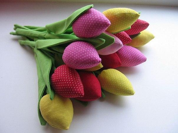 Тюльпан из ткани