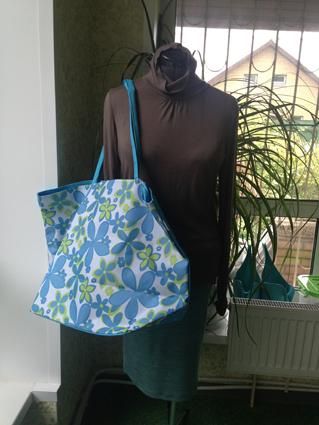 Пляжн сумка голубая