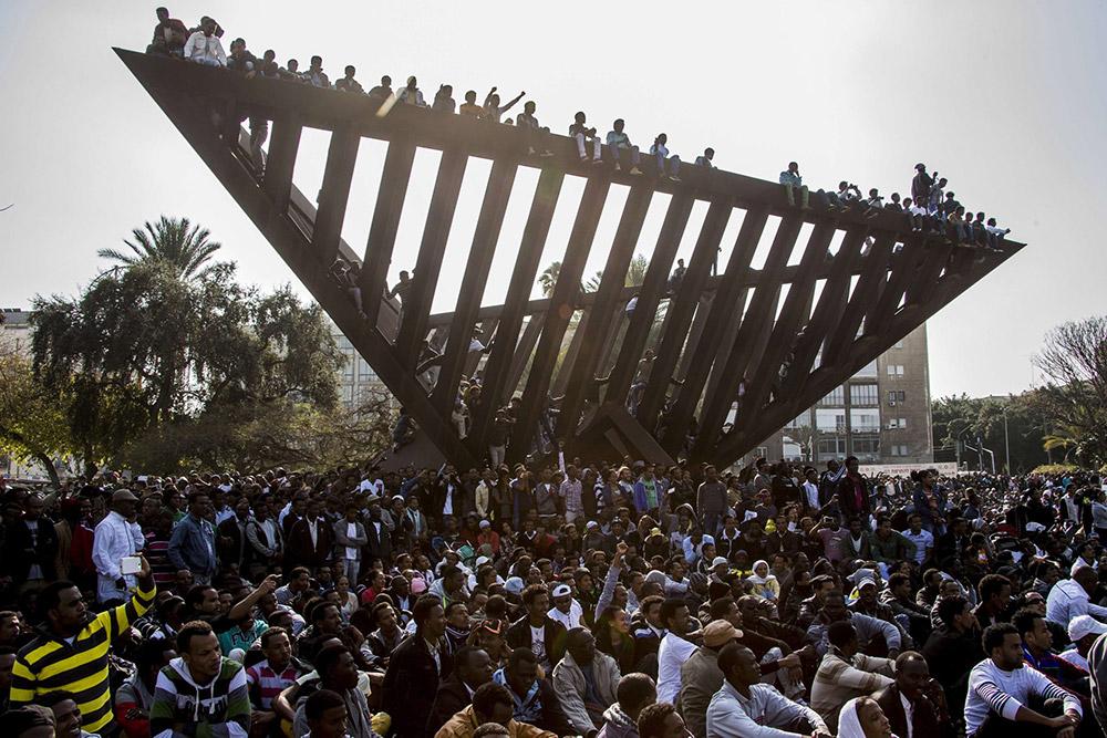 Митинг африканских нелегалов в Тель-Авиве