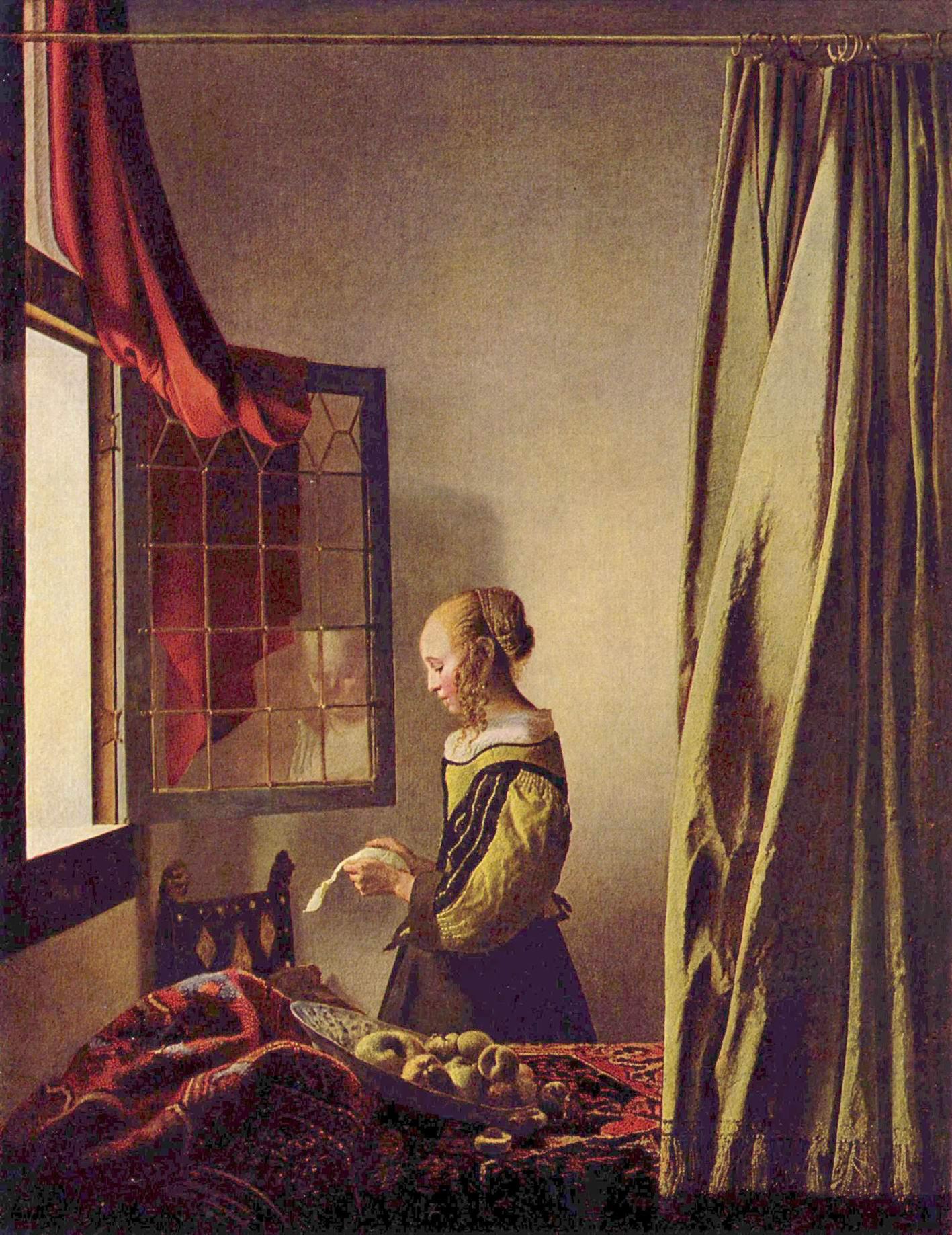 Ян Вермеер Делфтский-Девушка у открытого окна, читающая письмо