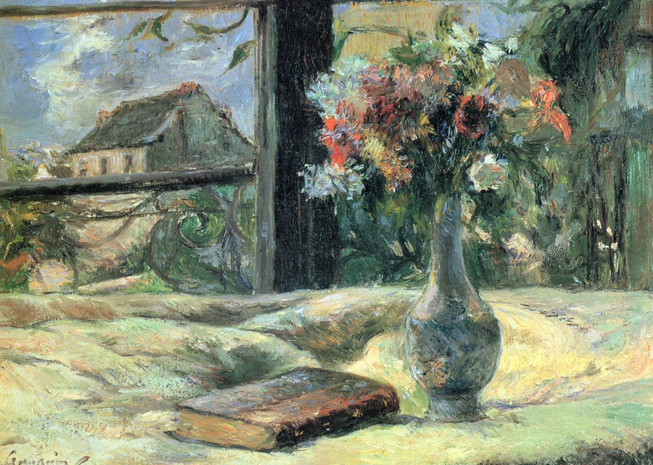 Поль Гоген-Ваза с цветами на окне