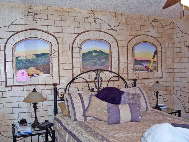 Фальш-окна в спальне - роспись
