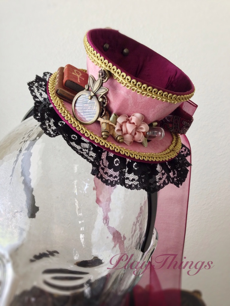 Pink Steampunk Egyptologist Teacup Hat Commission