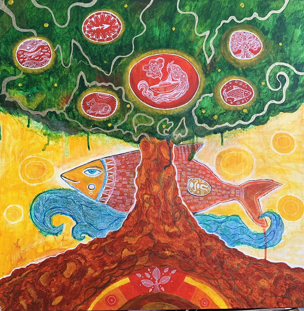 "Новая картина ""Древо познания"", 60х60 см, акрил, холст"