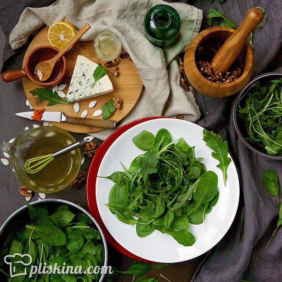 Теплый салат из тыквы с сыром Дор Блю
