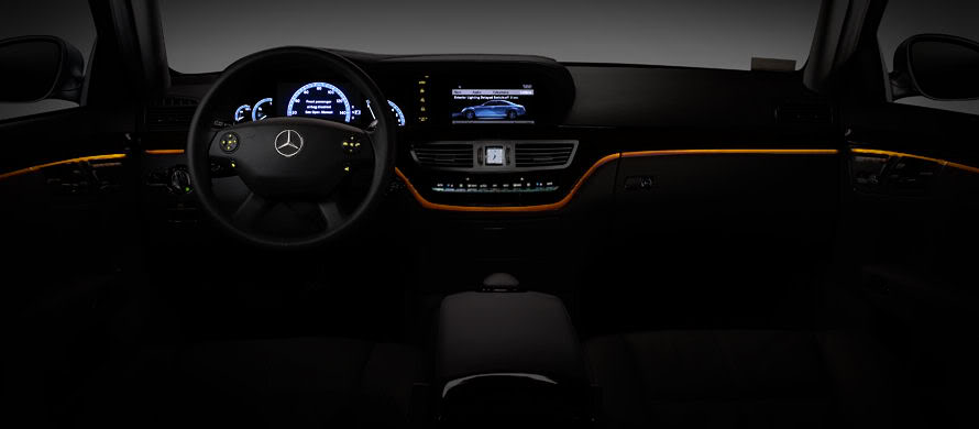 interior Mercedes at night