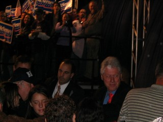 Clinton approaching the stage