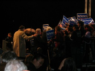 Clinton and McNerney greeting an enthusiastic crowd