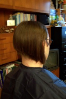 After the ponytail was cut off. Stella says she thought it looked like a decent girl's haircut like this.