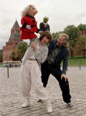 Джим Хэнсон и его персонажи в Москве. 1988 год.