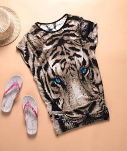 Tiger-printed-Tshirt-Long-Tops-Womens-Summer-Tees-Blue-Eyes-Popular-T-shirt-Hot-Sale-Fashion