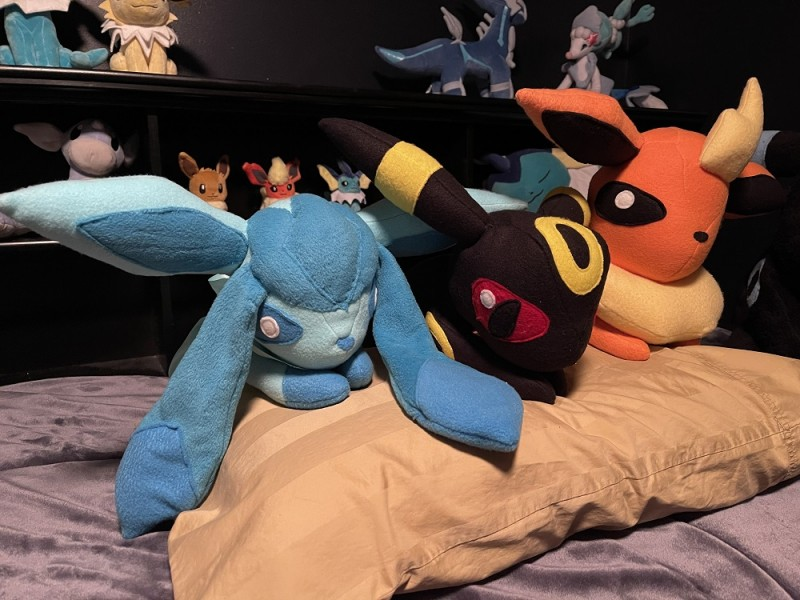 Custom Glaceon, Umbreon, and Flareon plushes also made by me in 2012!