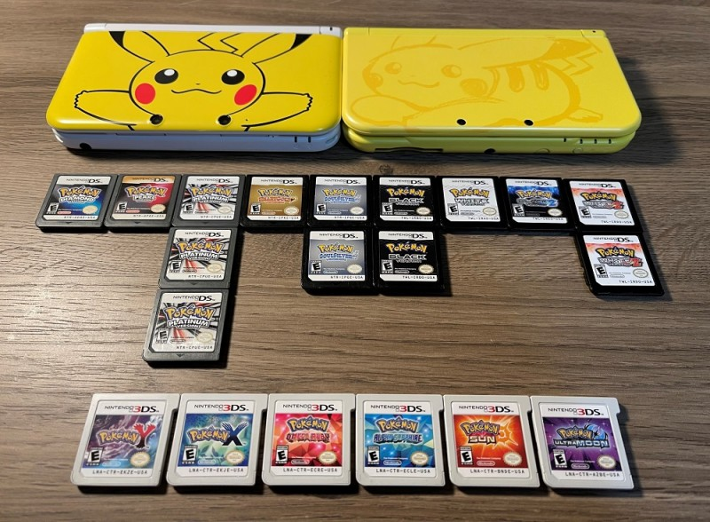 Lastly, Pokemon Diamond, Pearl, Platinum, HeartGold, SoulSilver, Black, White, Black 2, White 2, Y, X, Omega Ruby, Alpha Sapphire, Sun, and Ultra Moon (all authentic) with my Pikachu 3DSs! I have most of the spin-off games, like Mystery Dungeon, Ranger, etc., but I decided to keep it to the mainline games for this post. I also have Pokemon Moon, Ultra Sun, Let's Go Pikachu, Sword, and Shield, but they are downloaded on the Pikachu New 3DS XL (right) or my Nintendo Switch.