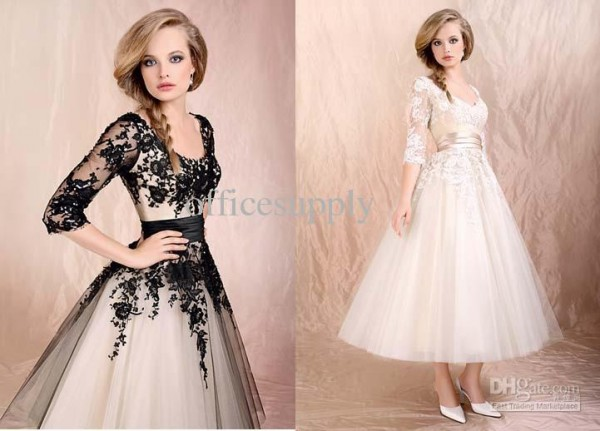 black-ivory-lace-long-sleeves-wedding-dress