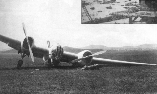 Вынужденная посадка скоростного бомбардировщика СБ-2, повреждённого японским зенитным огнём над Хасаном 2 августа 1938 года