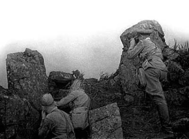 Пограничники наблюдают за противником. Озеро Хасан, 1938 год