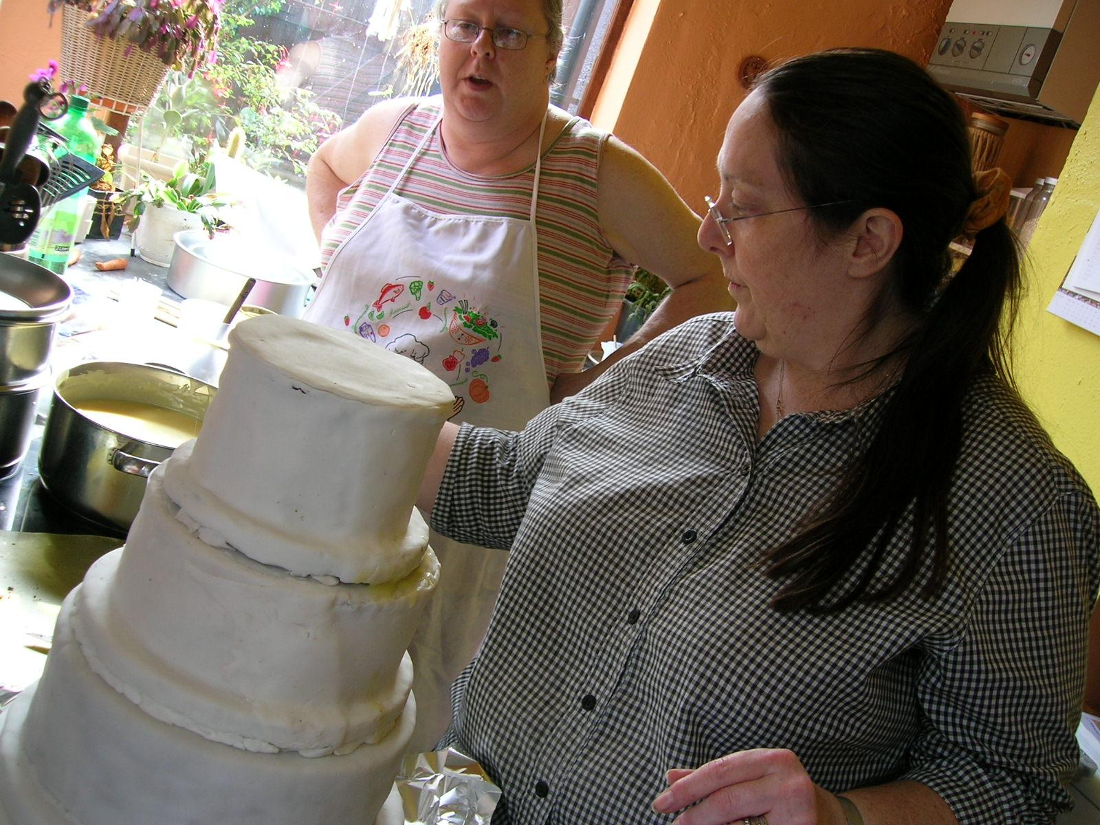 The cake takes shape