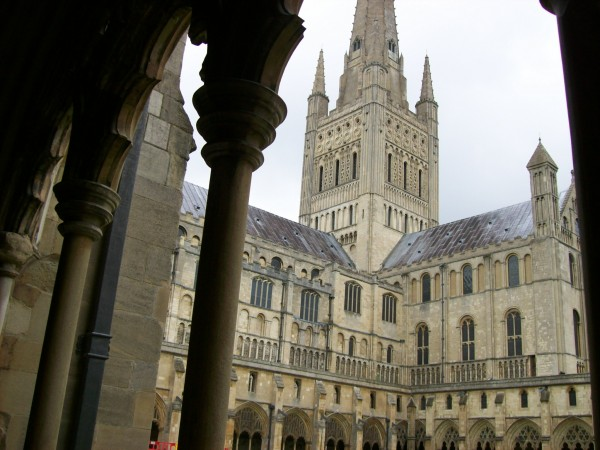 Norwich Cathedral- the tower viewed from the cloisters