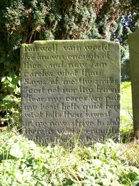 Gravestone with verse epitaph, South Wingfield, Derbyshire