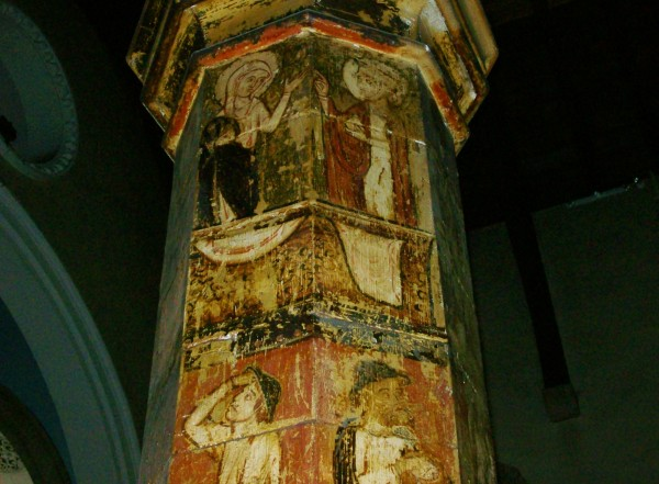 Painted pillar, St Mary of Charity, Faversham
