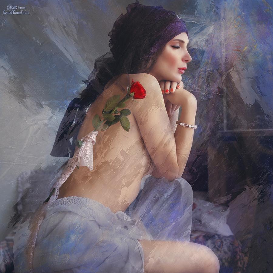 женщина и роза