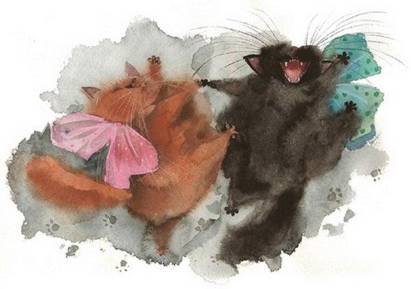 акварельные коты
