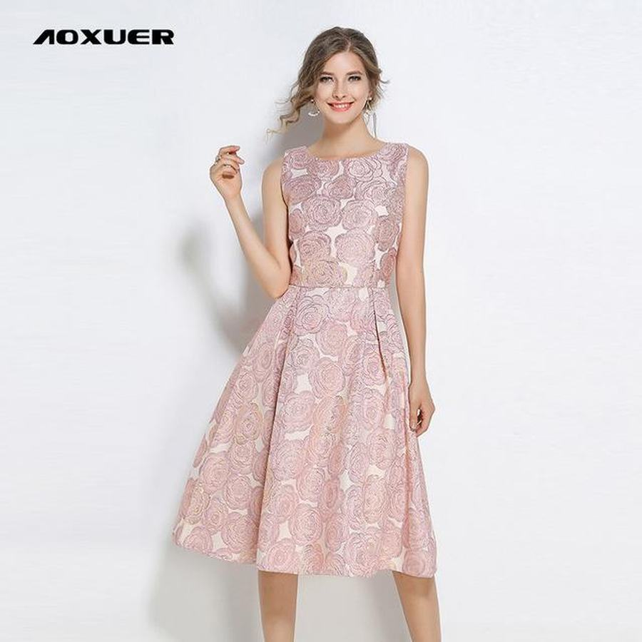 Casual Embroidery Slim Sleeveless Dresses Women Aoxuer B307