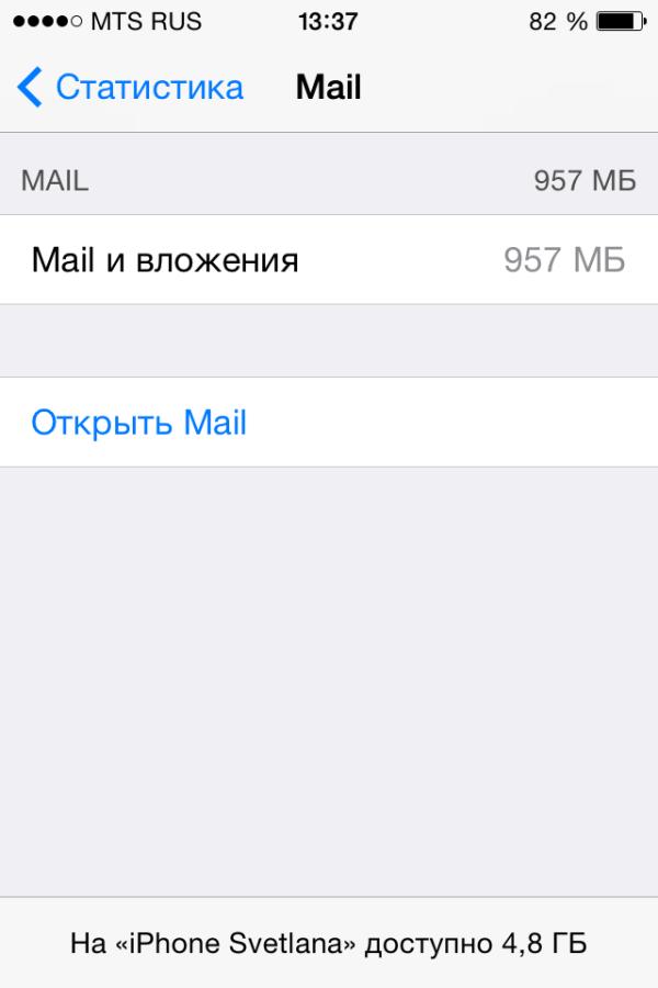 Очистить память айфона, почтовая программа