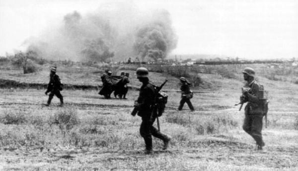 Немецкие войска на подступах к Сталинграду на берегу Волги
