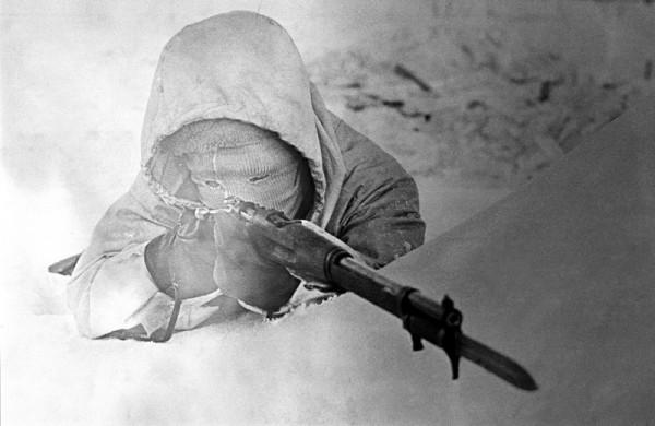Шведский доброволец на позиции во время советско-финской войны