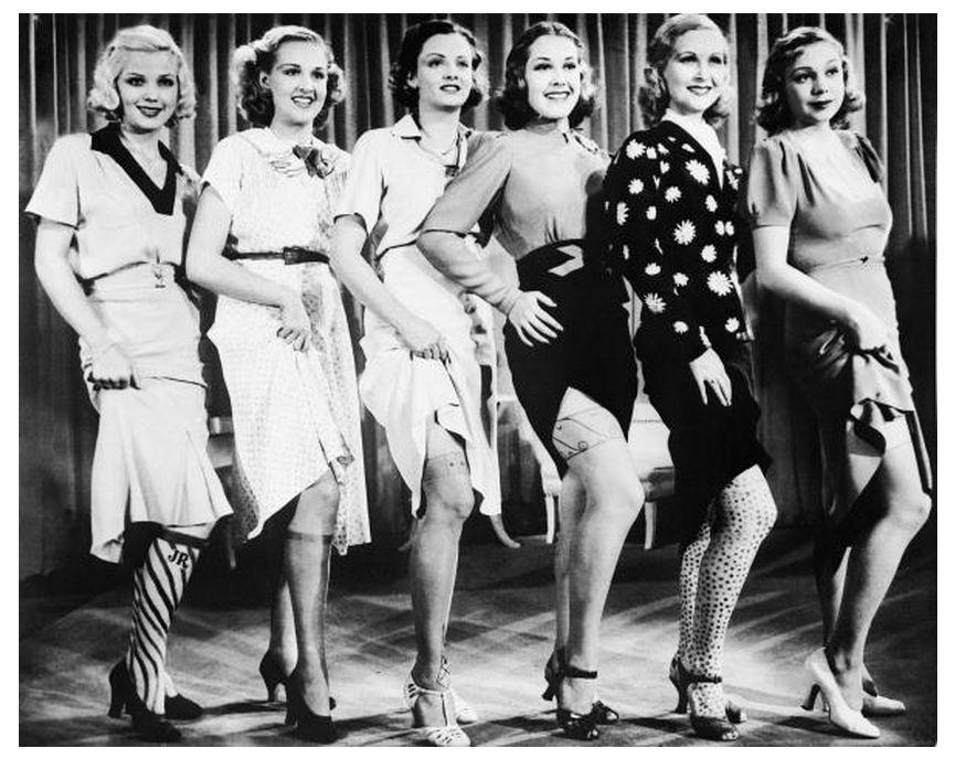 Лица из прошлого: голливудские красотки рекламируют шёлковые чулки