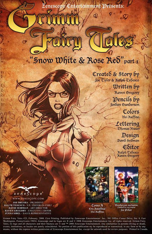 Grimm Fairy Tales, выпуск #23: Белоснежка и Красная Роза, часть 1