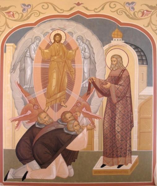 Фреска трапезной в одной из гостиниц Троице-Сергиевой лавры «Явление Христа преподобному Серафиму Саровскому во время Великого Входа»