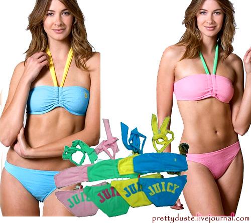 Item: 12 - JUICY COUTURE BEACH VELOUR BANDEAU BIKINI SET Size: S Available