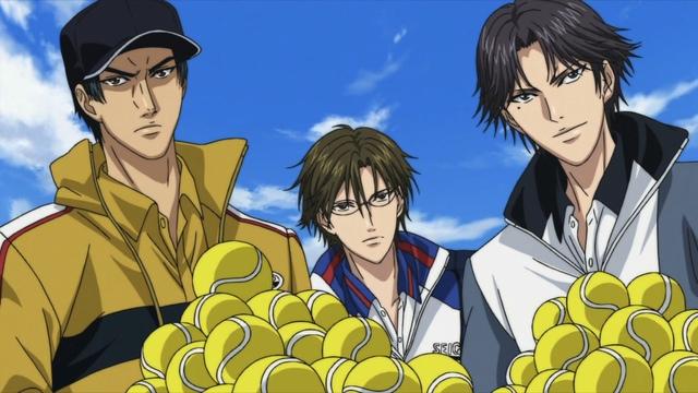 Sanada, Tezuka, Atobe, and lots of tennis balls