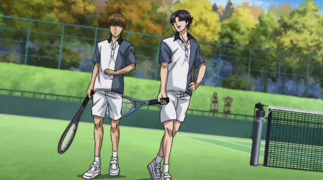 Atobe playfully smacking Hiyoshi ass with a tennis racquet