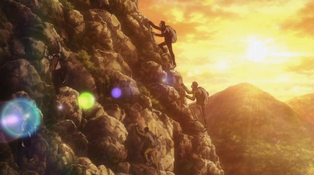 Tennis boys climbing a mountain