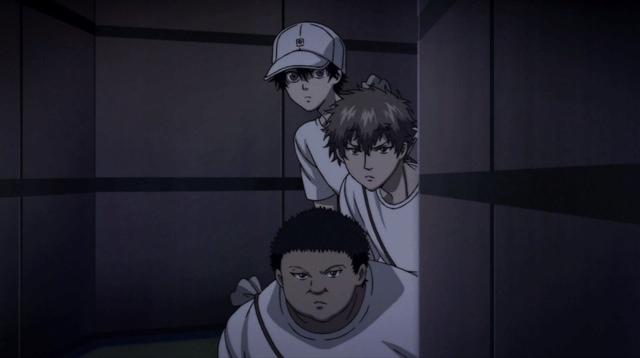 Ryoma, Kenya, and Tanishi peering around a corner