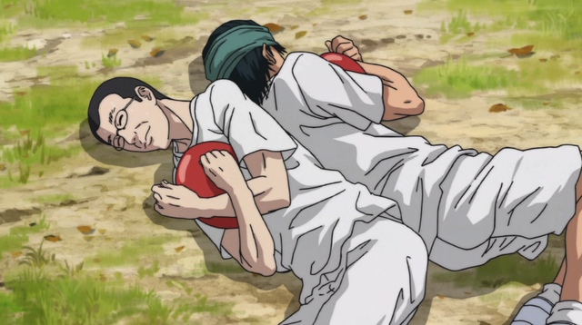 Koharu and Yuuji lying back to back and clutching balloons