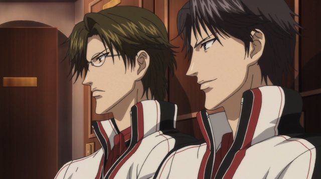 Atobe and Tezuka standing next to each other