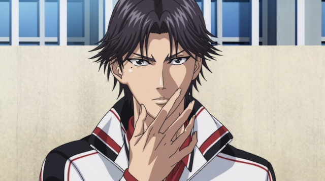 Atobe, hand in front of his face