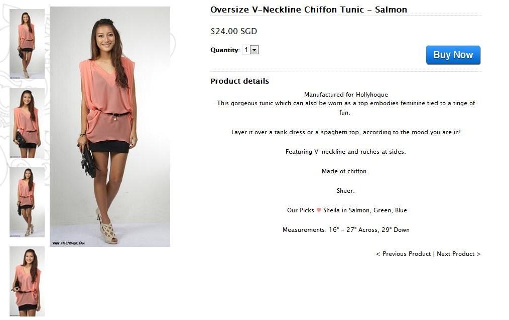 Oversize V-Neckline Chiffon Tunic - Salmon2