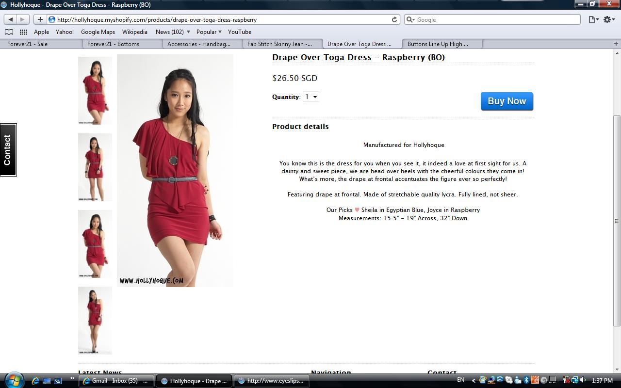 drape over toga dress - raspberry