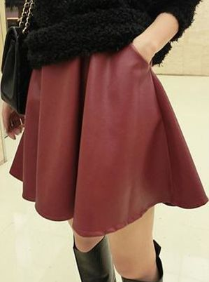 DOUBLE POCKETS LEATHER MINI SKIRT
