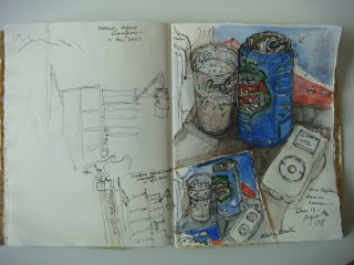Club soda, iPod, (Eric Clapton), drawing book