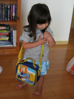 Getting her lunch bag ready to go...
